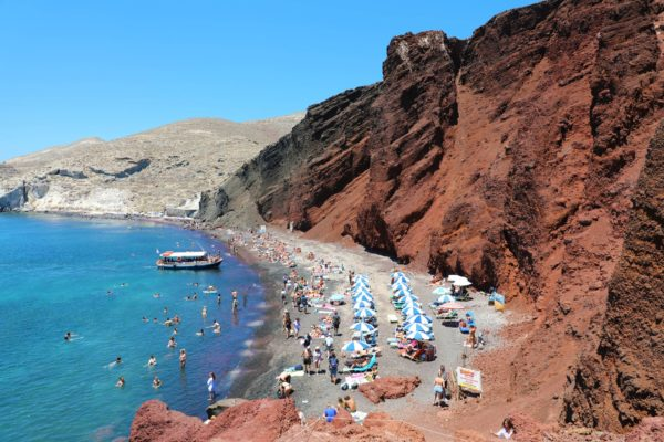 Santorini, Greece - July 21, 2018: Red Beach On Santorini Island